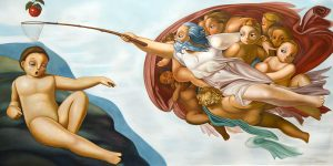 Homage to Michelangelo's The Creation of Adam
