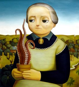 Homage to Grant Wood's Woman with Plants